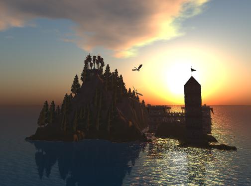 Sunset, Day's End, IBM Open Sim Shengri LaSpirit