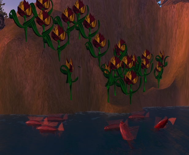 An Underwater view of Fishes and some Strange Flowers