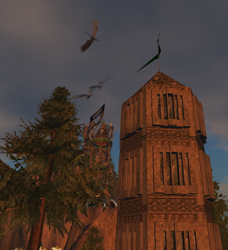 The Western Guard Tower with Pegasids at Sunset