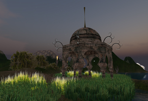 Gazebo in the marsh grass in the twilight