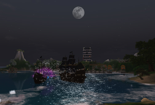 Full moon over Shengri La Joy and the Tall Ships of Lia Woodget